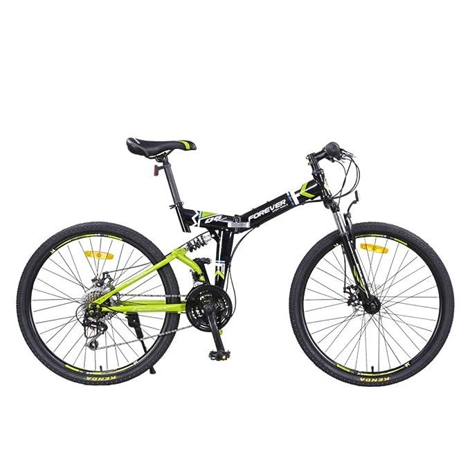 YEARLY Montaña bicicleta plegable, Adultos bicicleta plegable Velocidad 24 Masculino Amortiguador de choque doble Cola suave Bicicleta plegable mujer-rojo ...