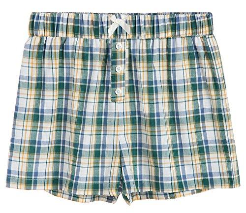 Women's Sleepwear Cotton Plaid Pajama Boxer Shorts M Green