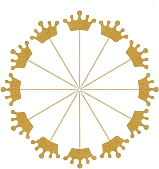 Amazon.com: x-group 50 Pack Gold Glitter corona Cupcake ...