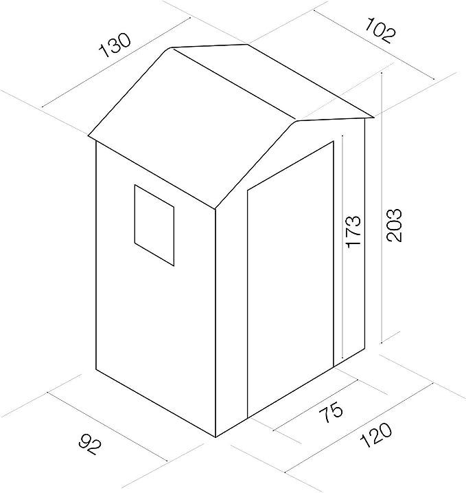 GARDIUN KSP38100 - Caseta de Resina Mara - 1,34 m² Exterior 102x132x203 cm Antracita/Blanco
