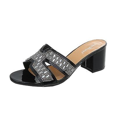 2d55efcbd3d2cd Ital-Design Pantoletten Damen-Schuhe Pump Strass Besetzte Sandalen  Sandaletten Schwarz