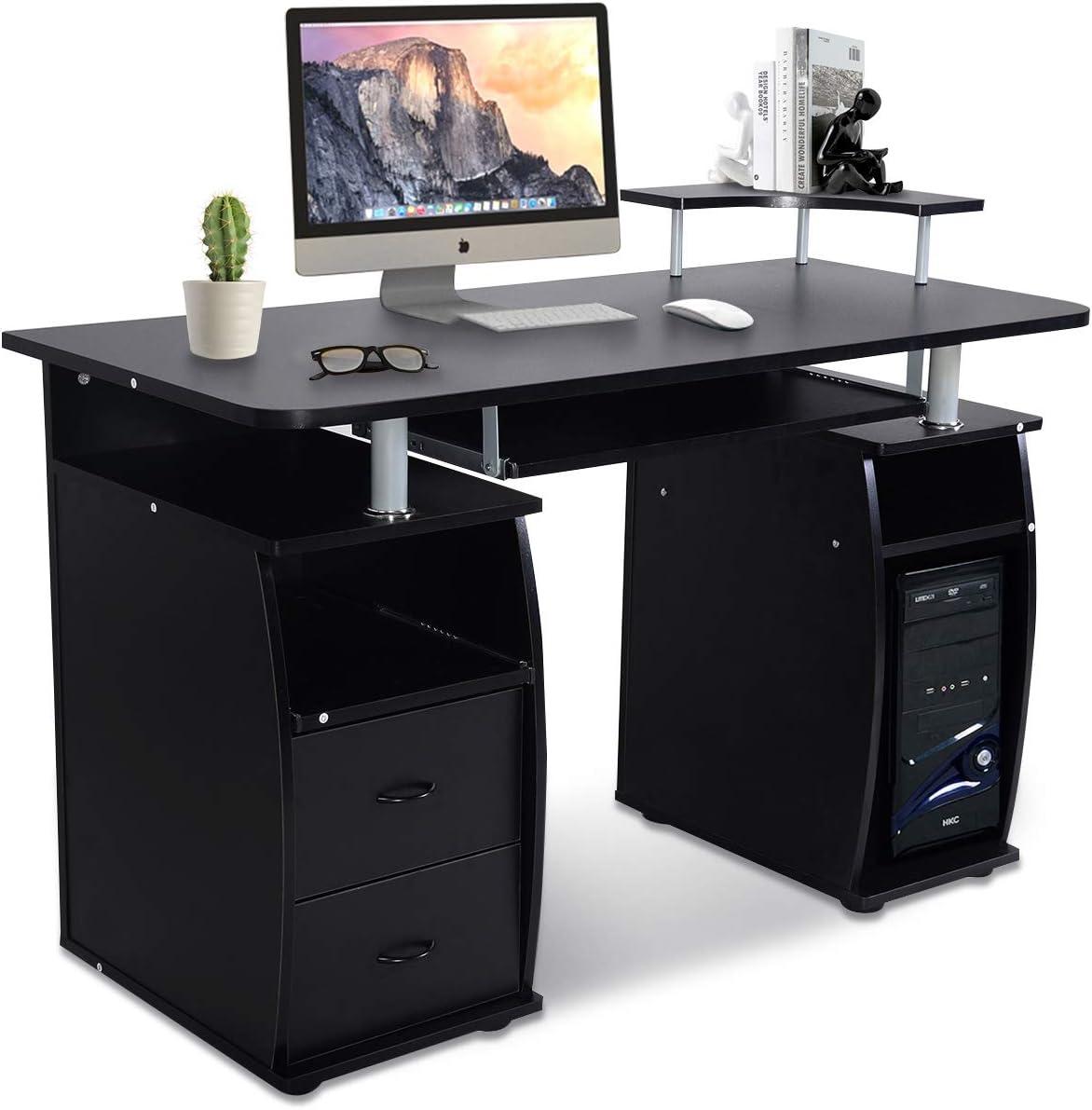 Goplus Scrivania Porta Computer per Ufficcio con 2 cassetti Vassoio Tastiera e Vassoio per Fax120x85x55 cm Marrone