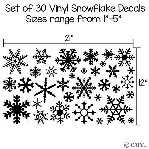 Small Snowflakes set of 30 wall saying vinyl lettering decal home decor art quote sticker (Black)