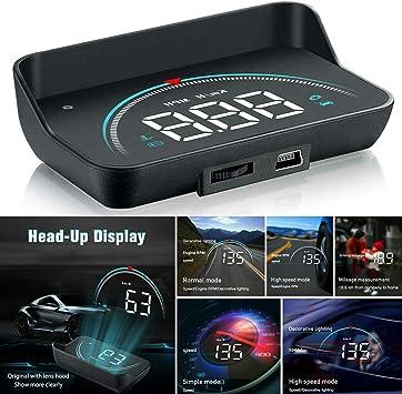 Gfyee Auto Hud Head Up Display 3 5 Zoll Display Obd2 Hud Display Head Up Display Geschwindigkeitsmesser Auto Tachometer Wassertemperaturmesser Motordrehzahl Sicherheitsalarme Küche Haushalt