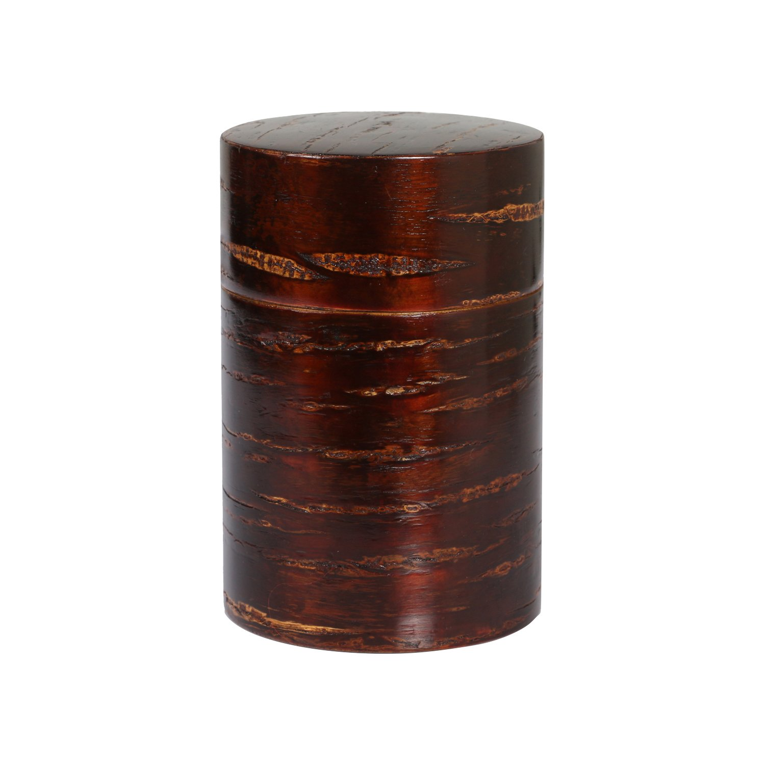 OYL Creative Retro Cherry Bark Tea Caddy, Handcraft Wood Tea Canister with Tea Scoop JLD