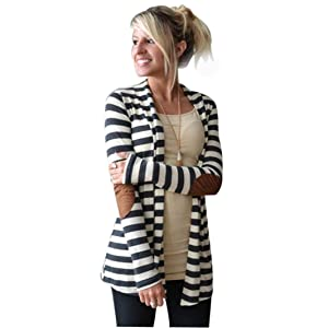 TAORE Women's Long Sleeve Shawl Collar Elbow Patch Striped Open Front Cardigan Sweater (L, White)