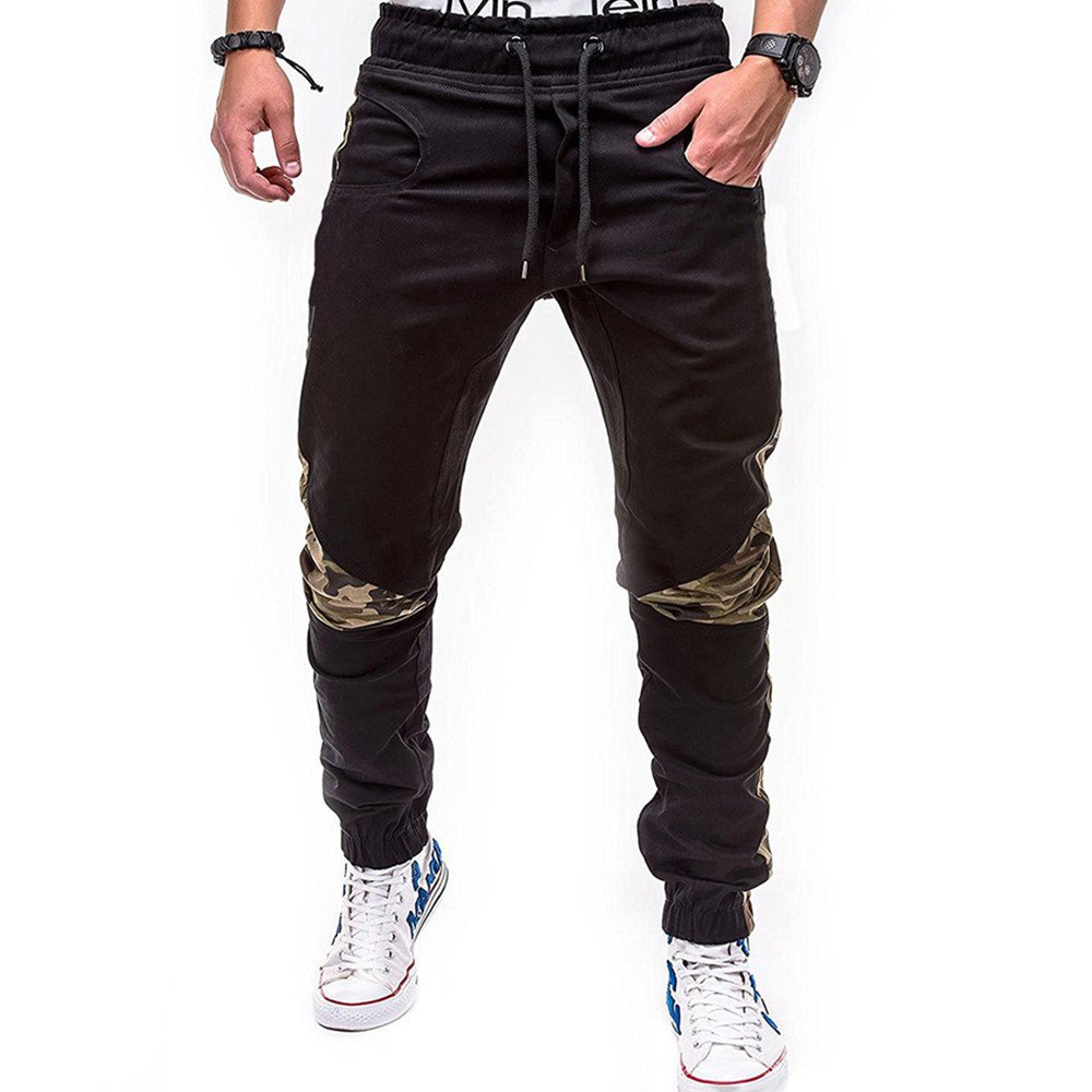 Spbamboo Mens Sweatpants Sport Joint Lashing Belts Casual Loose Drawstring Pants