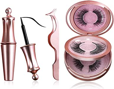 Jasmine Magnetic Eyeliners and Eyelashes, 2 Pairs Natural and Reusable Eyelashes with a Tweezer and Fashion Mirror Kit, Your Fast Eye-Makeup Helper