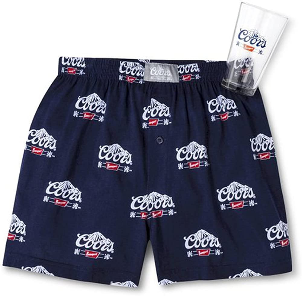 Coors Mens Sleep Short Boxers with Pint Glass