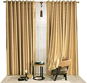 KoTing Blackout Golden Curtain Drape for Bedroom 1 Panel Gorgeous Solid Gold Curtain Grommet Top Drapes 84 inch Long 42 84