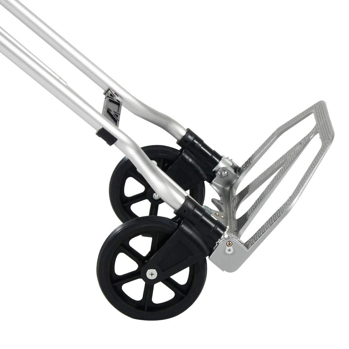 60Kg DlandHome Diable Polyvalent Chariot de Manutention R/églable et L/éger avec Poign/ée T/élescopique en aluminium Charge Max