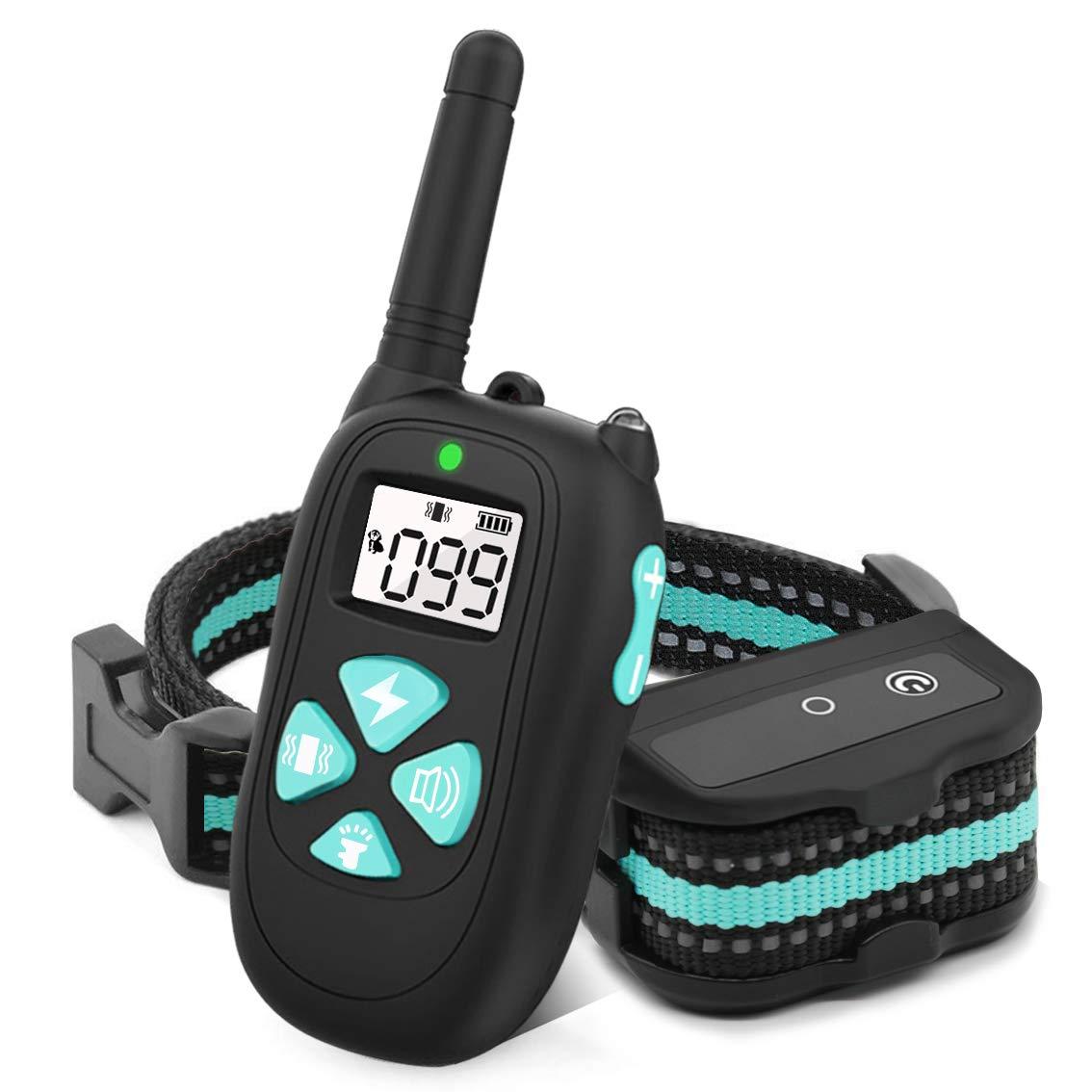 HappyT Dog Training Collar with Remote, Dog Shock Collar, 3 Training Modes, Beep Vibra Electric Shock, 1450Ft Remote Range, 1-100 Levels Waterproof Dog Training Set
