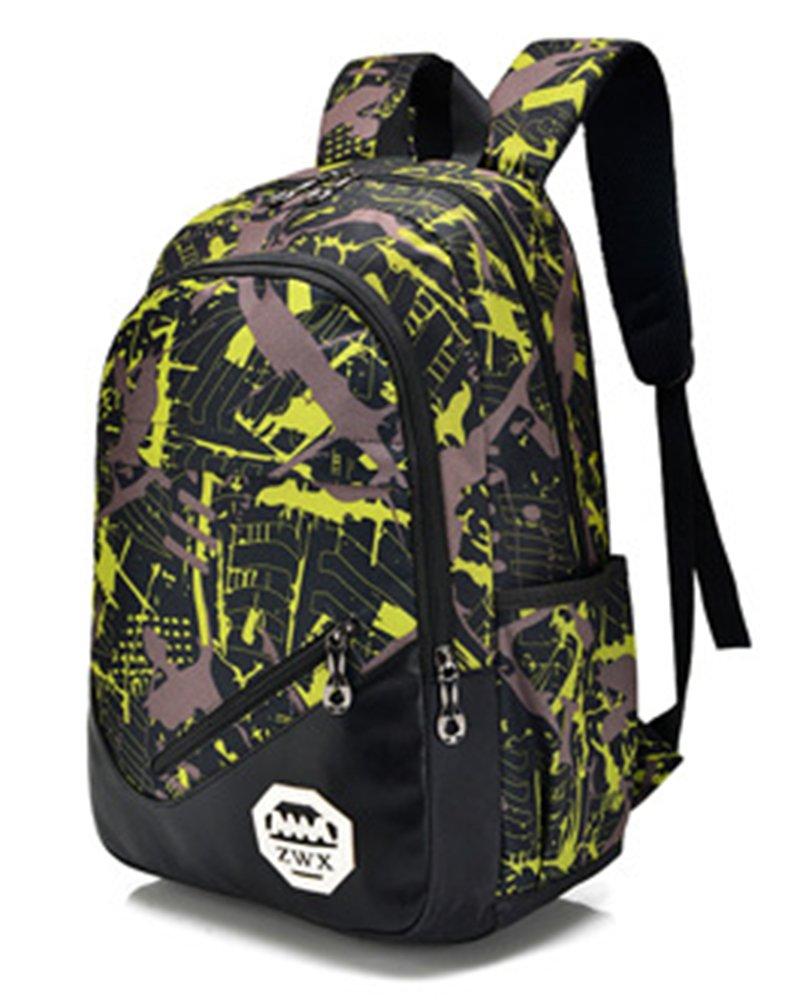3 Piezas Set Adolescentes Mochilas Escolares Lona Estampados Backpack Amarillo