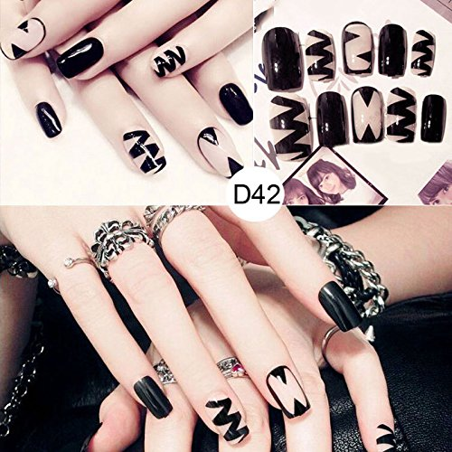 Espeedy uñas falsas,24 Unids / set Mujeres Señora 3D Uñas Postizas con Pegamento Medio Largo Consejos Envueltos Completa Novia Artificial Falsa Uñas: ...