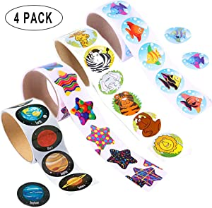 Colored Animal,Tropical Fish,Solar System,Star Stickers,Children Kids Stickers Roll for Kids Party Favor,Girl Boy Birthday Gift,Teachers, Game Prizes,Novelty Toys(4 Roll of 400 Stickers)