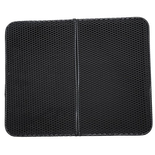 Yeefant Double-Layer Honeycomb Trapper with Waterproof Base Feeding Mat Placemat Waterproof Cat Litter Mat,Sensitive Paws and Easy to Clean,16x20 Inch,Black by Yeefant Pets Toys