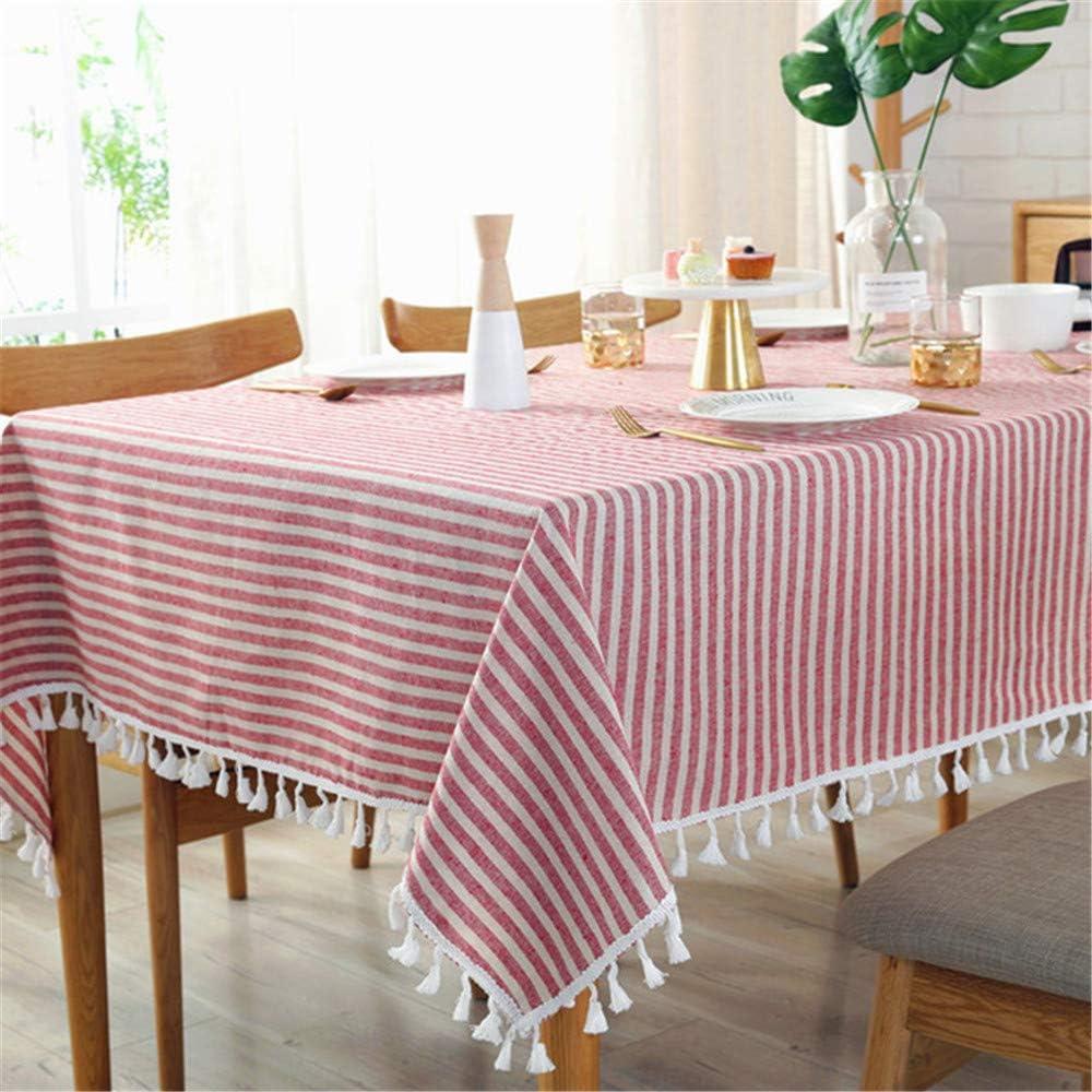 SONGHJ Simple Mantel A Rayas a Rayas Mantel de algodón y Lino Cocina Decoración para el hogar manteles A 100x140cm: Amazon.es: Hogar