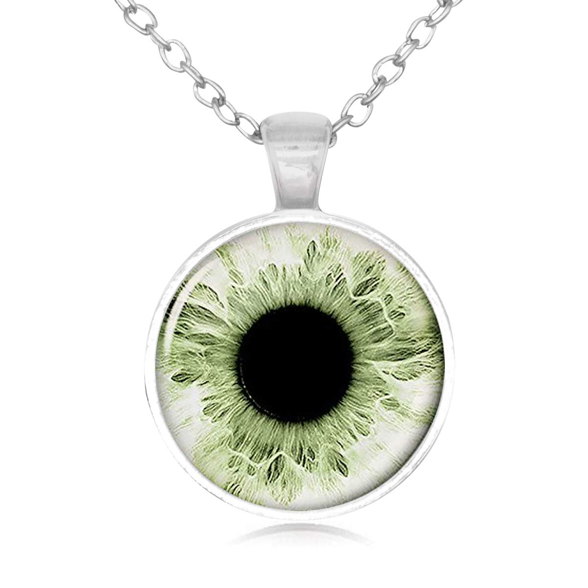 Lightrain Tender Green Eyeball Photo Pendant Necklace Vintage Bronze Chain Statement Necklace Handmade Jewelry Gifts