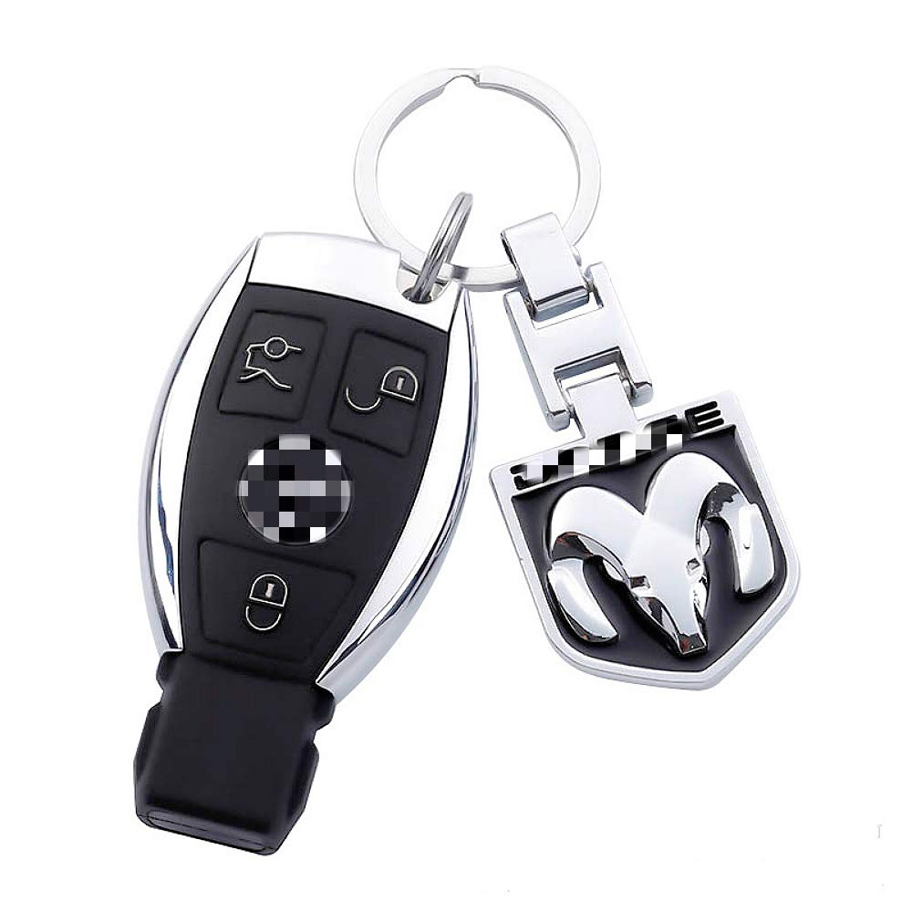 EVPRO 2 Pcs Key Chain with Double Sides 3D Metal Chromed Pattern Auto Car Key Ring for Dodge Ram Accessories