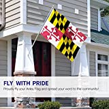 Anley Fly Breeze 3x5 Feet Maryland State Polyester Flag - Vivid Color and UV Fade Resistant - Canvas Header and Double Stitched - Maryland MD Flags with Brass Grommets 3 X 5 Ft