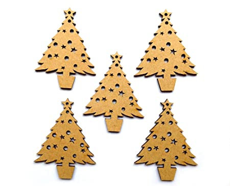 woodenmdf blank christmas tree shapes ready to decorate pack of 5 - Blank Christmas Tree