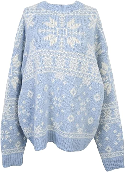 Lentta Womens Loose Kint Button-up Cardigan Sweater for Christmas Plus Size