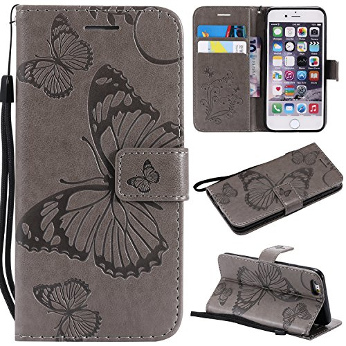 Price comparison product image iPhone 6S Wallet Case, iPhone 6S Case with Card Holder, iPhone 6 Leather Flip PU Phone Protective Case Cover with Credit Card Holder Slots for Apple iPhone 6S / 6 with Stand, Cute Butterfly Gray
