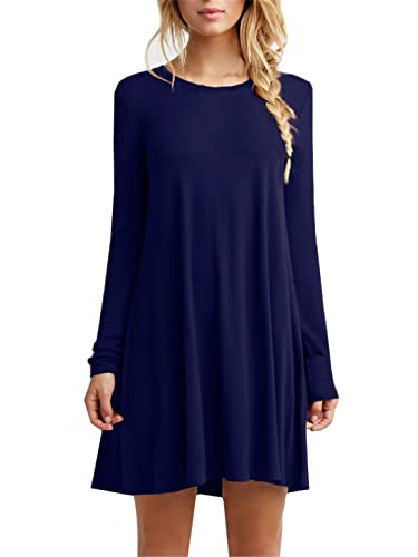Kissky Women's Casual Plain Long Sleeve Simple Tshirt Loose Dress