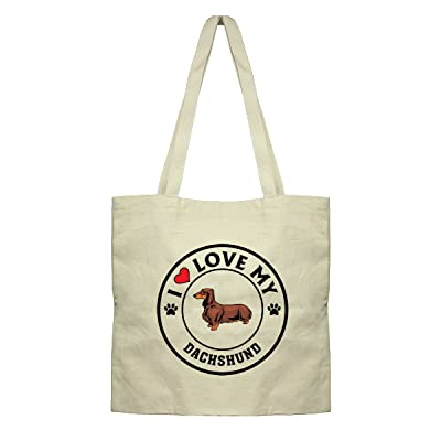 Style in Print I Love My Dachshund Dog Style 1 Canvas Tote Cotton Market Bag 85%OFF