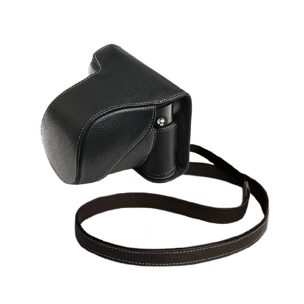 TP LEICA ライカ Q2 本革レンズカバー付カメラケース バッテリー交換可能タイプ ブラック B07SQZB2RZ ブラック 本革レンズカバー付カメラケース バッテリー交換可能タイプ+ショルダーストラップTP15