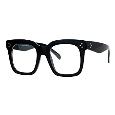 54e16f3d62 JuicyOrange Polycarbonate Oversized Clear Lens Glasses Thick Square Frame  Eyeglasses (Black)  Amazon.in  Clothing   Accessories