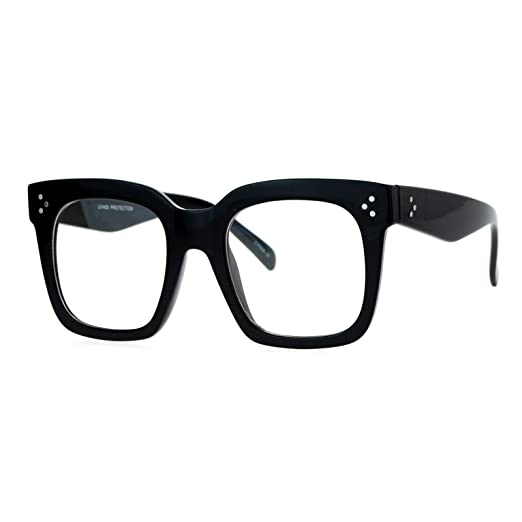 5b93237e906 Amazon.com  Super Oversized Clear Lens Glasses Thick Square Frame Fashion Eyeglasses  Black  Clothing