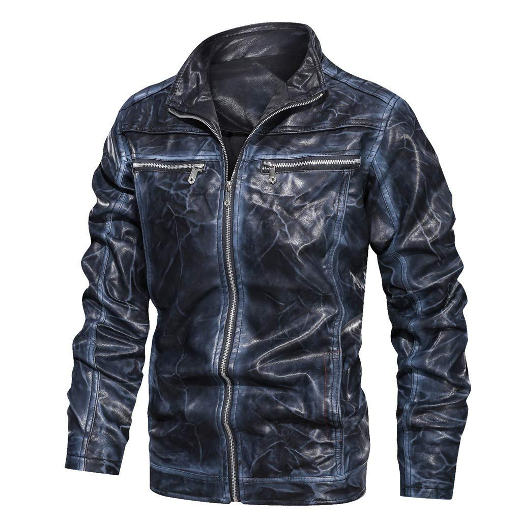 Men's Faux Leather Jacket Vintage Gradient Color Stand Collar Motorcycle PU Leather Outwear Coat Blue by SSYUNO-men tops