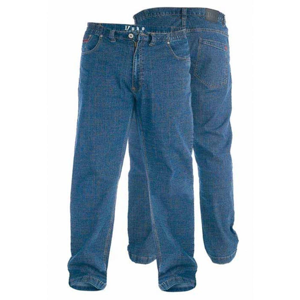 Duke London Mens Bailey New Elasticated Waist Denim King Size Jeans Stonewash