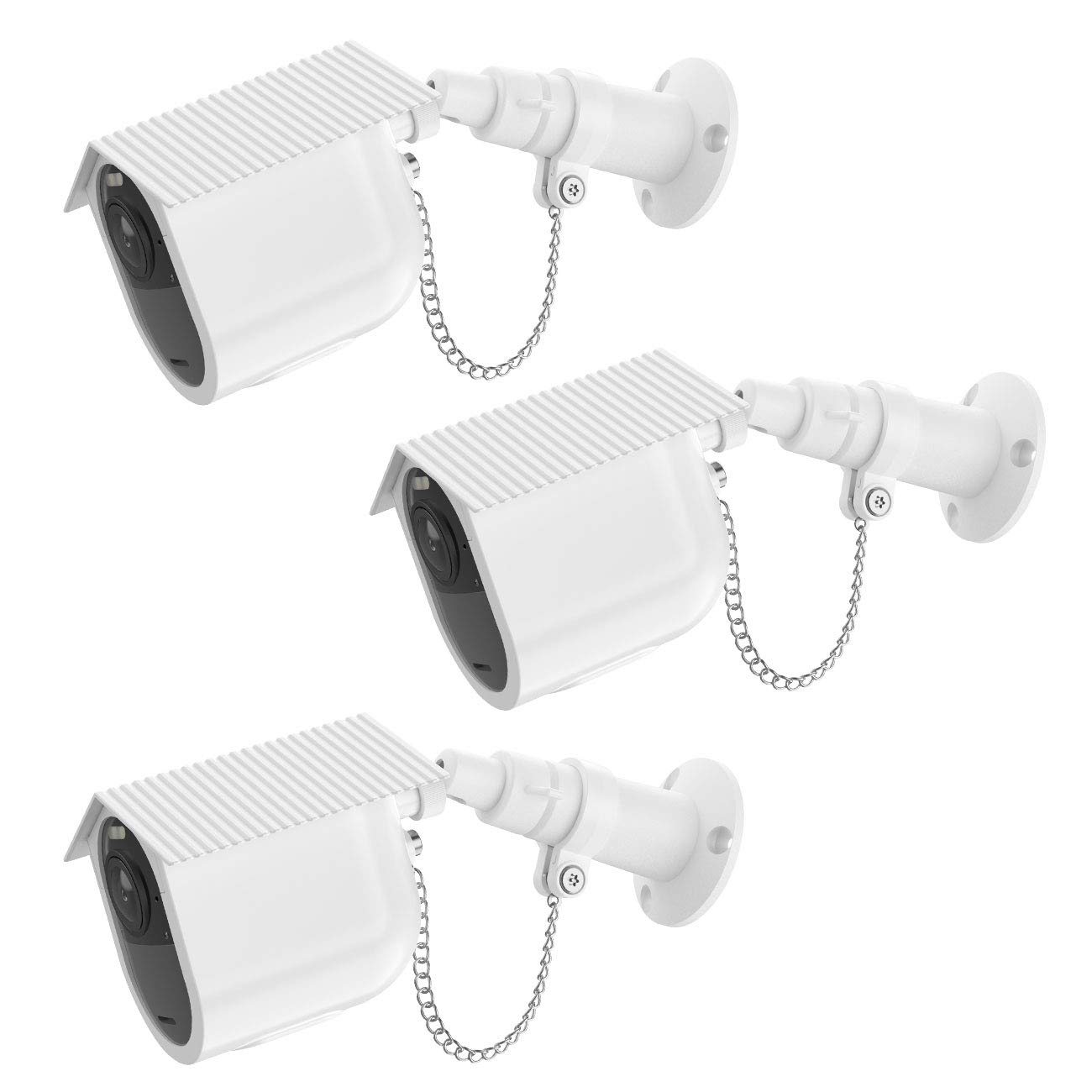 HOLACA Security Outdoor Mount for Arlo Ultra 4K Arlo Pro 3 with Anti-Theft Chain,Protective Housing Case-Extra Protection for Your Arlo Camera. (3 Pack,White) by HOLACA