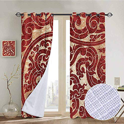 NUOMANAN Modern Farmhouse Country Curtains Antique,Thai Culture Vector Abstract Background Flower Pattern Wallpaper Design Artwork Print,Ruby,Design Drapes 2 Panels Bedroom Kitchen Curtains 100
