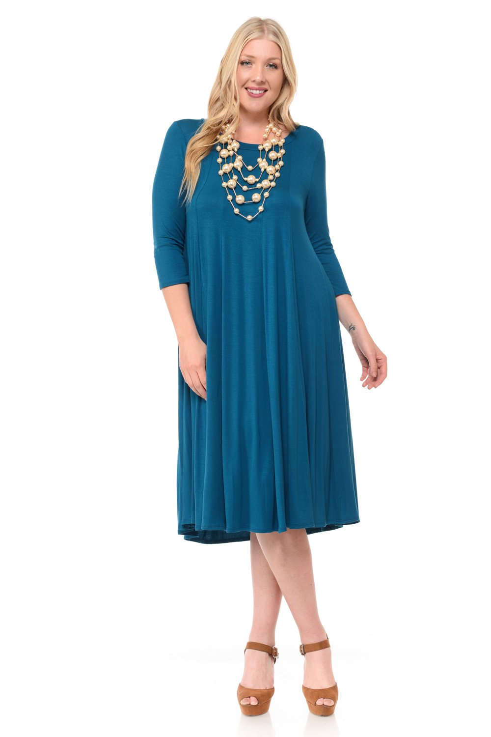8a935788cf6 Galleon - Pastel By Vivienne Women s A-Line Trapeze Midi Dress Plus Size  XXX-Large Teal