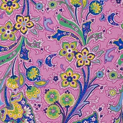 Bunte Blumen auf Rosa mit gr/ünem Rand Notch Einstecktuch aus Seide f/ür Herren
