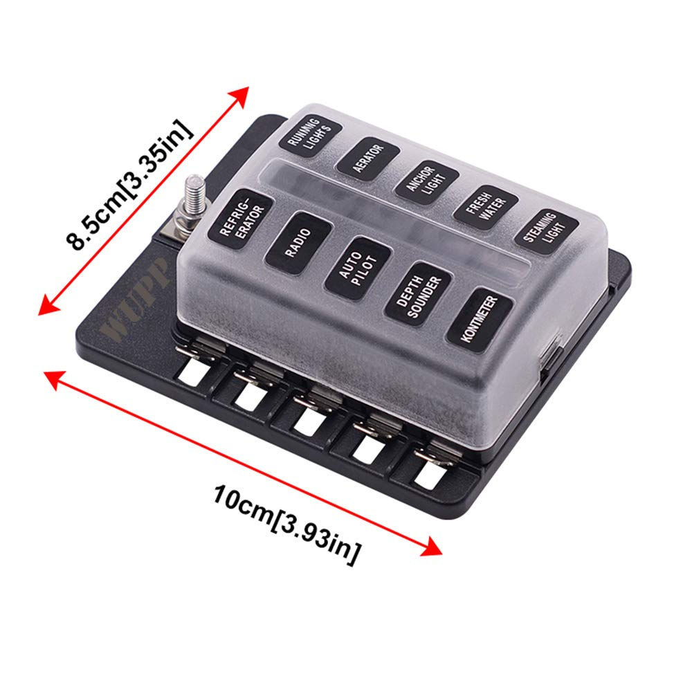 Fuses Not Included 6-Way Blade Fuse Block WUPP ATC//ATO Fuse Box with LED Warning Indicator /& Durable Protection Cover for Automotive Car Boat Marine RV Truck DC 12-24V