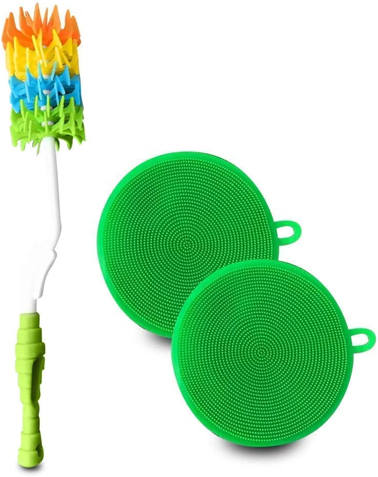 Kitchen Bottle Brush Cleaner Set w/Silicone Scrubbing Pads (3 Pc. Set) Long Handle, Dish, Glass, Silicone Kitchen Cleaning Set Accessory | Water, Tumbler, Cup, Pot, Pan | BPA Free, Food-Grade Safe