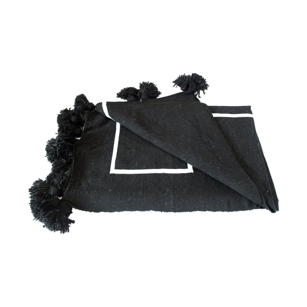 Ben and Jonah Geometric Moroccan Pom Pom Blanket (White on Black)