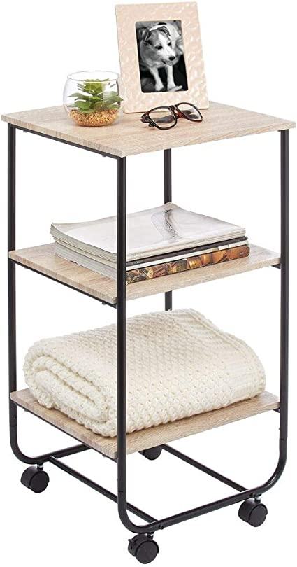 mDesign Mesita auxiliar con ruedas – Moderna estantería de madera con 3 baldas – Práctico mueble con estantes para cuarto de baño, cocina o habitación ...