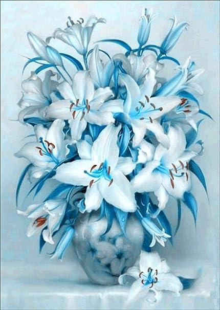 5D Diamond Painting Blue Vase Flower Bouquet Kit