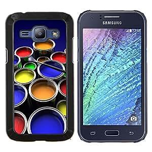 YiPhone /// Prima de resorte delgada de la cubierta del caso de Shell Armor - Kit de Pintura Arte gráfico del color Ollas Diseño - Samsung Galaxy J1 J100