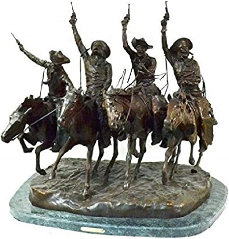 Amazon Com Coming Through The Rye Solid Bronze Statue By Fredric Remington Mini Home Kitchen