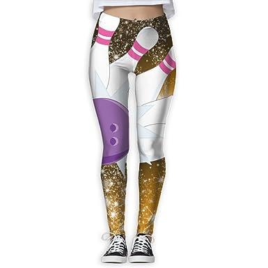 0e13ec0a59e63d Bowling Pins And Ball Printed Elastic High Waist Yoga Leggings For Women at  Amazon Women's Clothing store: