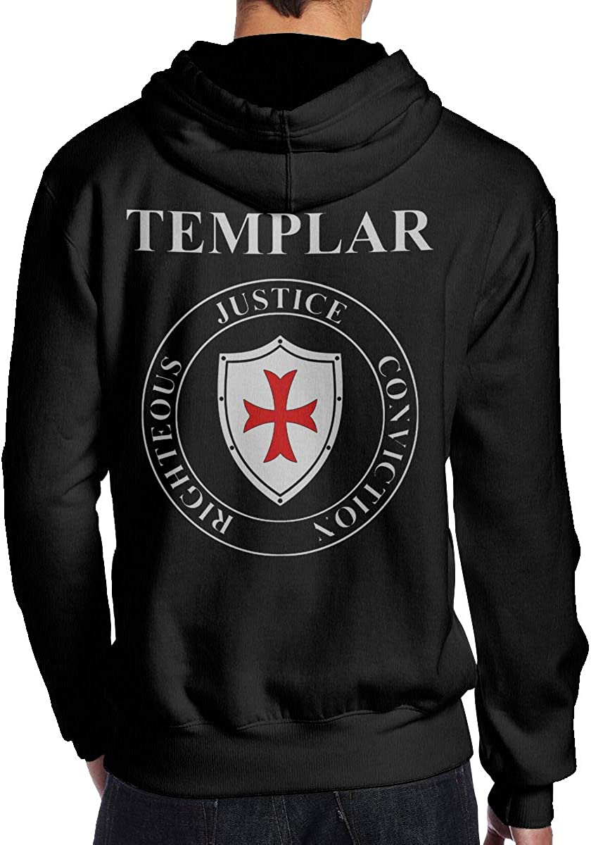 THEBUONUINV Knights Templar Shield Virtues Mens Hoodie Hooded Sweatshirt