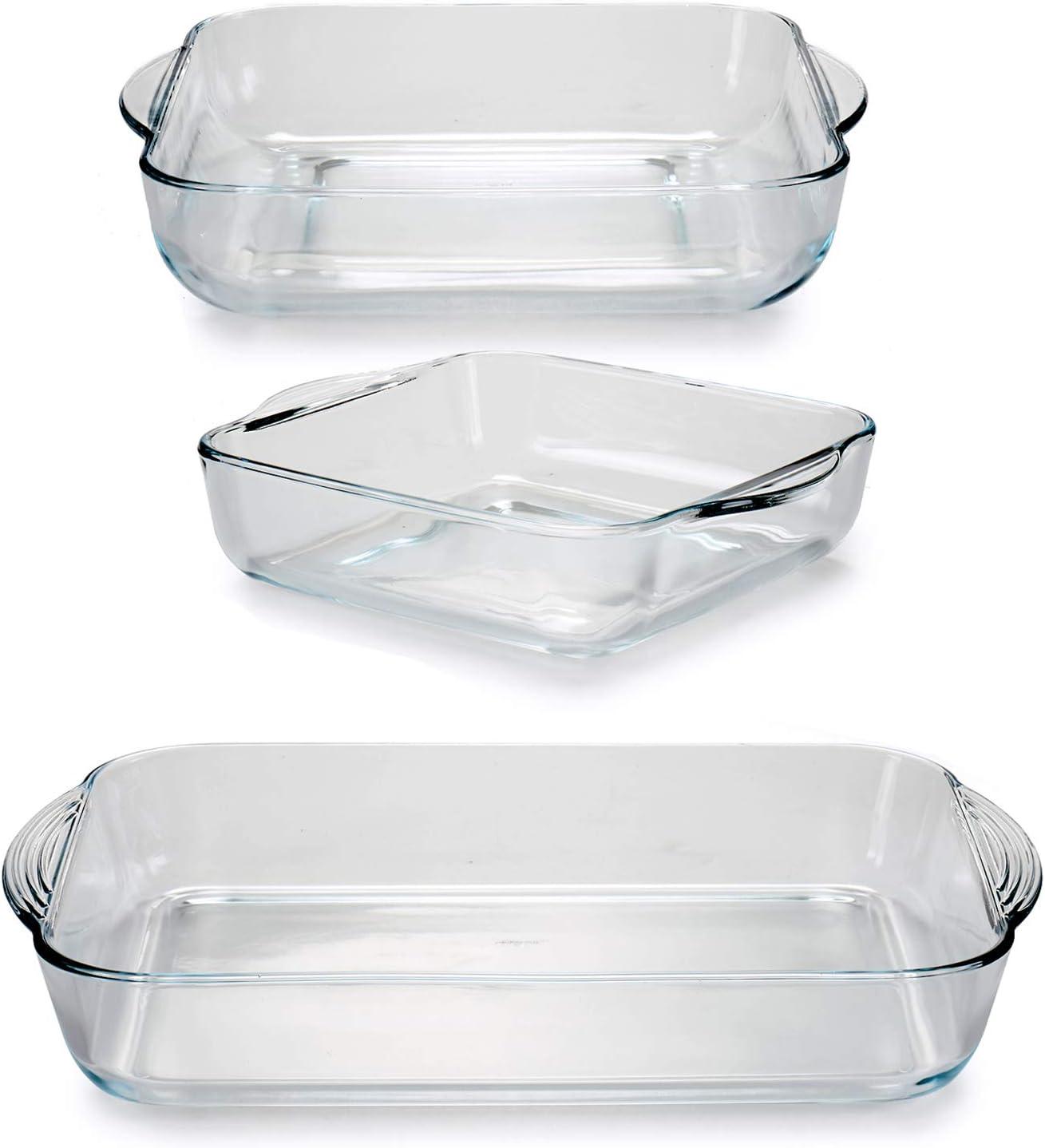 TU TENDENCIA ÚNICA Juego de 3 Bandejas de Cocina de Vidrio Borcam para Horno y microondas. Aptas para Nevera y Congelador