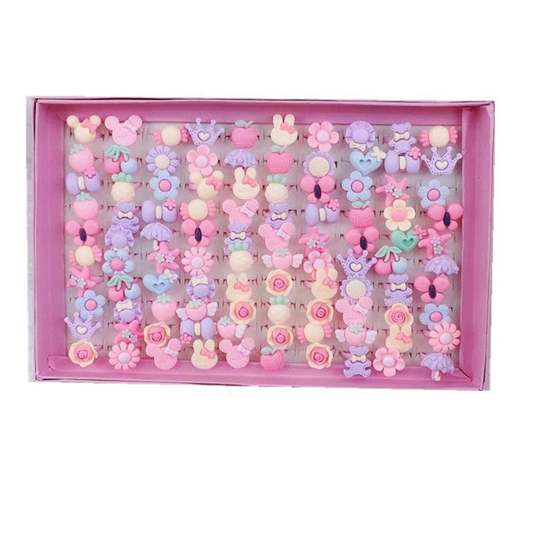 ZLY 100pcs Children Kids Little Girl Adjustable Jewelry Rings in Box, Random Shape and Color, Girl Pretend Play and Dress up Rings by ZLY