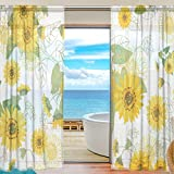 U LIFE Small Yellow Sunflowers Floral Patchwork Rod Pocket Sheer Voile Window Curtain Curtains 55 inch Wide x 78 inch Long Per Panel, Set of 2 Panels Review